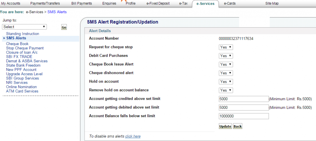 How to deactivate SBI SMS Alerts